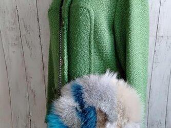 ¶ new antique fur ¶ カラフルフォックスラウンドショルダーバッグの画像