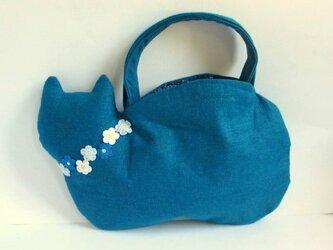 スラブリネン お花のネコバッグ*ターコイズブルーAの画像