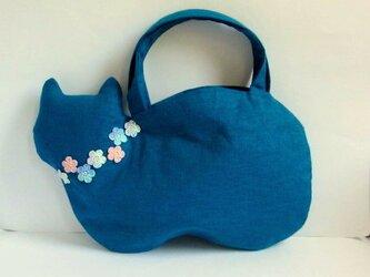 スラブリネン お花のネコバッグ*ターコイズブルーBの画像