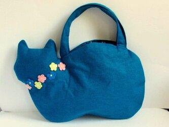 スラブリネン お花のネコバッグ*ターコイズブルーCの画像
