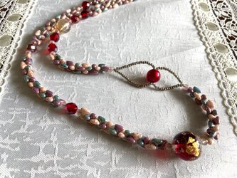 赤いベネチアンガラスネックレスの画像