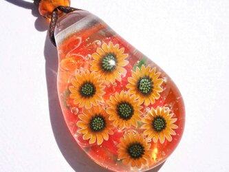 《ひまわり》 ペンダント ガラス とんぼ玉 向日葵の画像