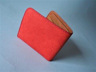 イタリアンレザーの二つ折り財布(レッド×キャメル)の画像