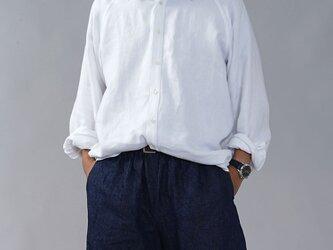 【wafu/Mサイズ】リネンシャツ メンズ仕様 メンズシャツ 最上質リネン100%ツイル/ホワイト t035i-wht2-mの画像