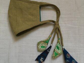 オリーブ色のリネンマスク(インドのリボン)の画像