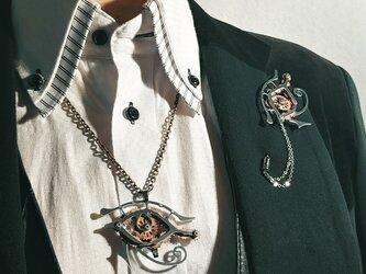 【歯車 ホルスの目ハットピン・ネックレス】守護や魔除け / 男性にも女性にもの画像