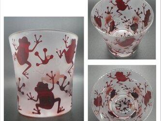 ●送料無料●【天開被せロックグラス赤】カエル柄の画像