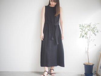 リネンマキシワンピース ブラック No.13301の画像