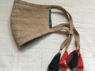 しましまリネンのマスク(インドの布)の画像
