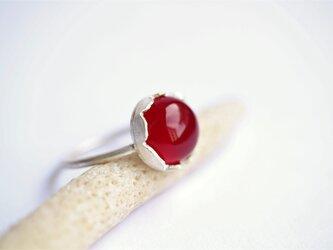 フューシャピンクカルセドニー お花 Silver Ringの画像