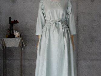 着物リメイク 紬ギャザーワンピース/Mの画像