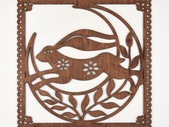 ビッグウッドフレーム「月うさぎ」(木の壁飾り)の画像