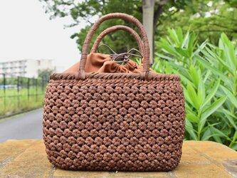 山葡萄(やまぶどう)籠バッグ | 小柄六角花結び編み | 巾着と中布付き | (約)幅26cmx高さ19cmx奥行13cmの画像