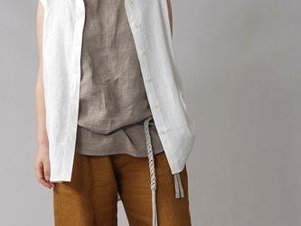 【wafu】やや薄地 リネン ちび襟 ノースリーブ 比翼シャツ リネンタンクトップ/ホワイト t018a-wht1の画像