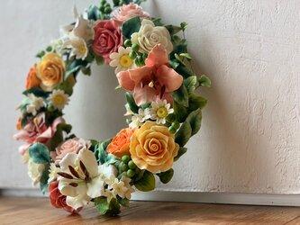 お花のふわふわリース♪の画像