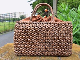 山胡桃(やまくるみ)籠バッグ | 六角花結び編 | 巾着と中布付き | (約)幅34cmx高さ21cmx奥行12cmの画像
