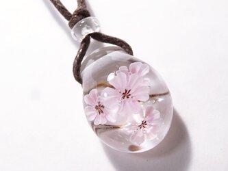 桜のとんぼ玉ガラスペンダントの画像