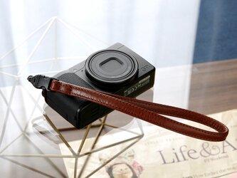 《Horse Leather》ミラーレス&コンパクトカメラ用 レザーハンドストラップ -チョコブラウンの画像