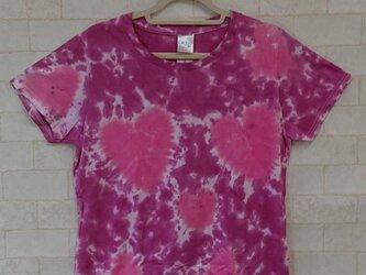 タイダイ染め ピンクの♡がいっぱい!!レディースTシャツ【レディースL】の画像