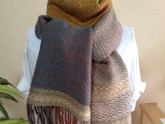 手織り☆柔らかく暖かいウールストールの画像