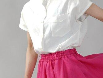 【wafu/Lサイズ】やや薄地 リネン フレンチスリーブ スタンドカラーシャツ/ホワイト t008e-wht1-lの画像