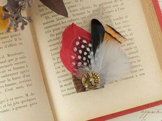 羽根のコラージュハットピン/ブローチ◎RS001【送料無料】の画像