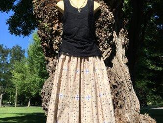 【受注製作】アイヌ チヂリ柄 コットン ギャザースカート オリジナルテキスタイル モカベージュ色の画像