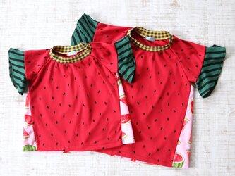 【90】スイカTシャツ女の子用*ロンリーTシャツ 袖フリル カットソーの画像