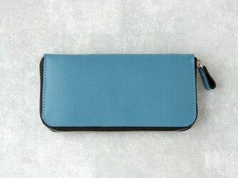 《Raffine》◇ラウンドファスナー長財布◇アクアブルー◇の画像