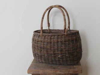 あけびと籐の素編みかご(深)の画像