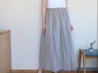春夏 裏地付きギャザースカート シルバーグレーの画像