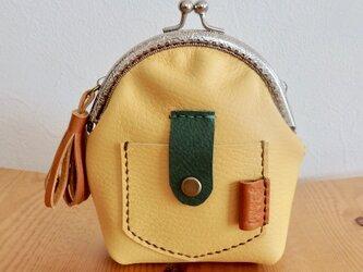 ポケットがま口 本革 財布 小銭入れ ポーチ「イエロー」の画像