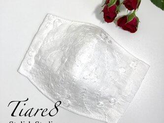 【やや小さめ】季節を彩るおしゃれな「アンティークローズ刺繍のコットンレースマスク」 クリスマス・お正月・成人式・結婚式にも最適の画像