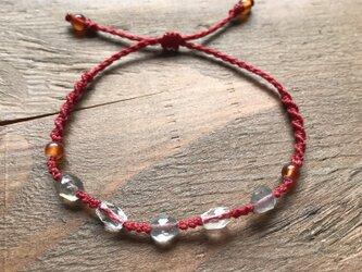 赤いワックスコードの天然石ブレスレットの画像