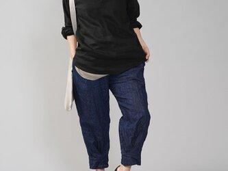 【wafu】男女兼用 中厚地 リネンシャツ ラグラントップス ヘンリーネック ラグランスリーブ/ブラック t038e-bck2の画像