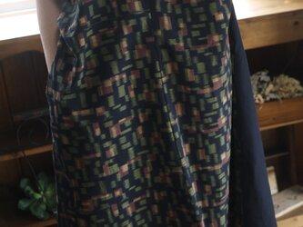 久留米絣反物からオフネックワンピースの画像