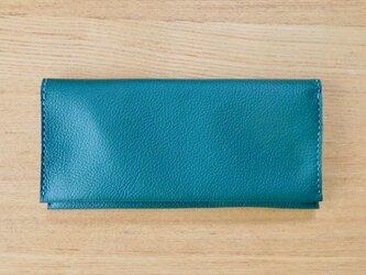Bokuno! ペタンコ 本革 ウォレット 財布 お札入れ カード入れ「グリーン」の画像