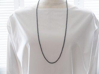 ブルーアベンチュリンのロングネックレスの画像