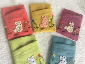 ウサギのカードケース・5色展開の画像