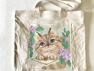 「レター」手描き 帆布バッグの画像