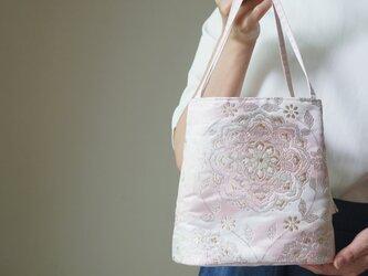 【桜色シルク帯 コロンとしたミニバック】日常使い、結婚式、パーティーに。の画像