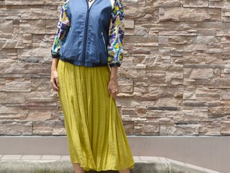 ピンナップガール刺繍*DENIM7分袖ジップアップの画像