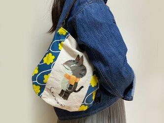 キジ猫チョットバッグ(黄色花)の画像