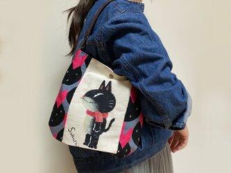 黒猫チョットバッグ(ピンク花)の画像
