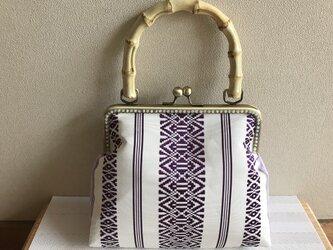 がまぐちバッグ バンブー持ち手・白×紫の博多献上帯×薄紫レース地の画像