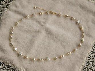 艶々ケシ真珠のネックレス(金鎖)  N18の画像