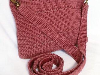 ☆サマーセール☆ ポーチにもなる かぎ針編みの2ウェイミニショルダーバッグ(赤)の画像