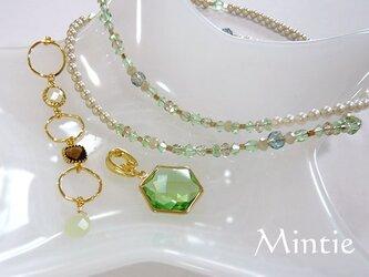 フラッシュ水晶、ニュージェイドのグリーン系ネックレスの画像
