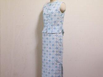 浴衣地 中国風ブラウスとタイトロングスカート Mサイズの画像