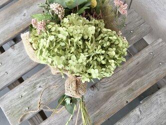 アナベルとハーブの花束の画像